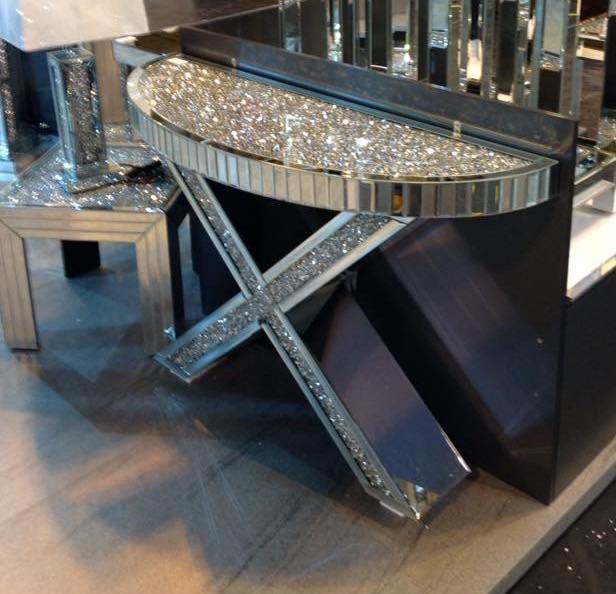 Diamond Crush Crystal Sparkle Curved X Console Table