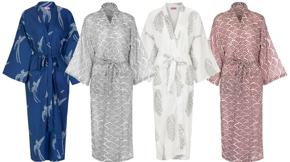 Beautiful Cotton Kimono Dressing Gowns: Hand Printed