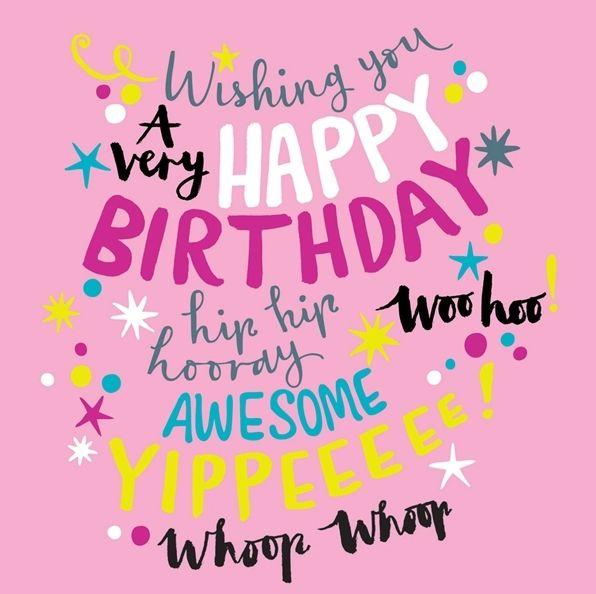 Birthday Card For Girl PINK Girly Birthday CARD A Very HAPPY Birthday BIRTHDAY Card For
