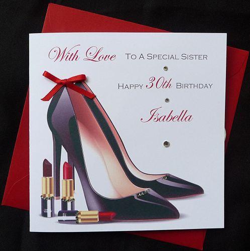 Handmade Ladies Birthday Card Stiletto Heels And Lipstick