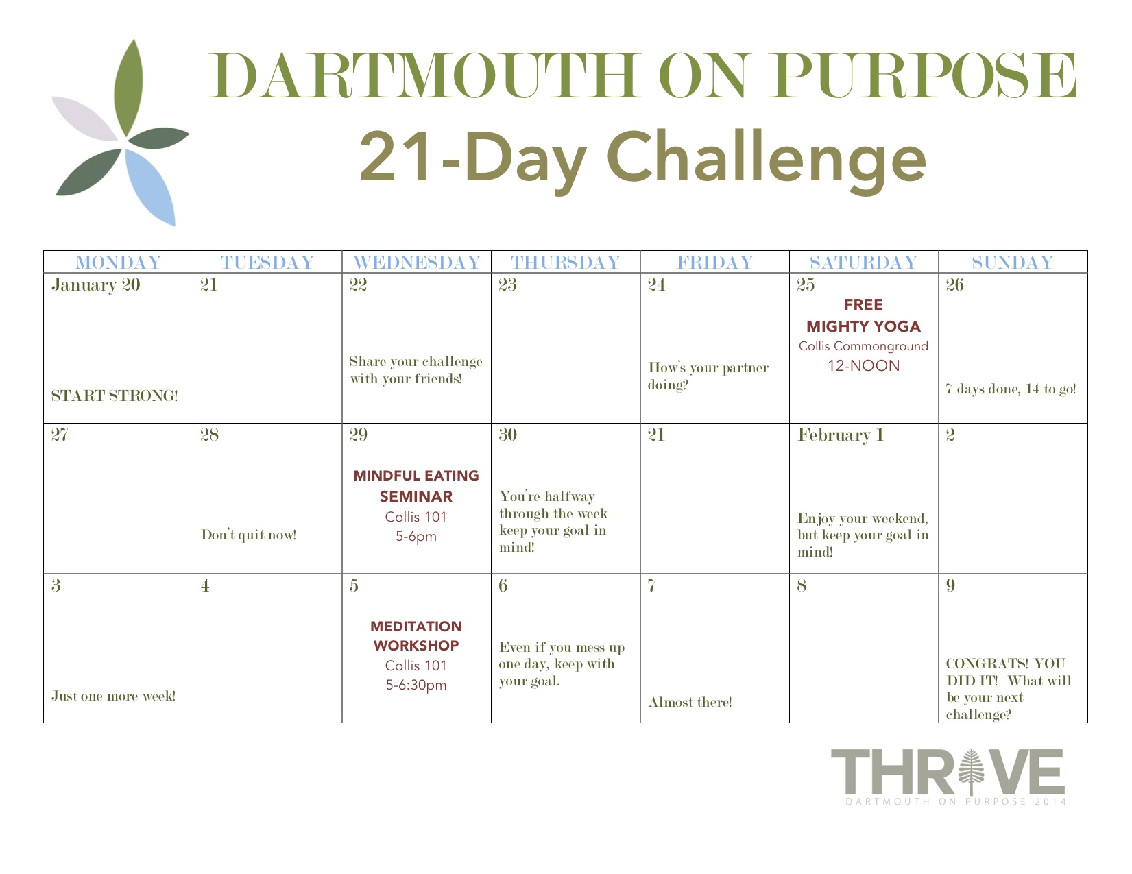 14W 21 Day Challenge Dartmouth On Purpose
