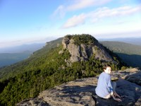 Brenna Forester taking a break from data collection at Grandfather Mountain, NC.