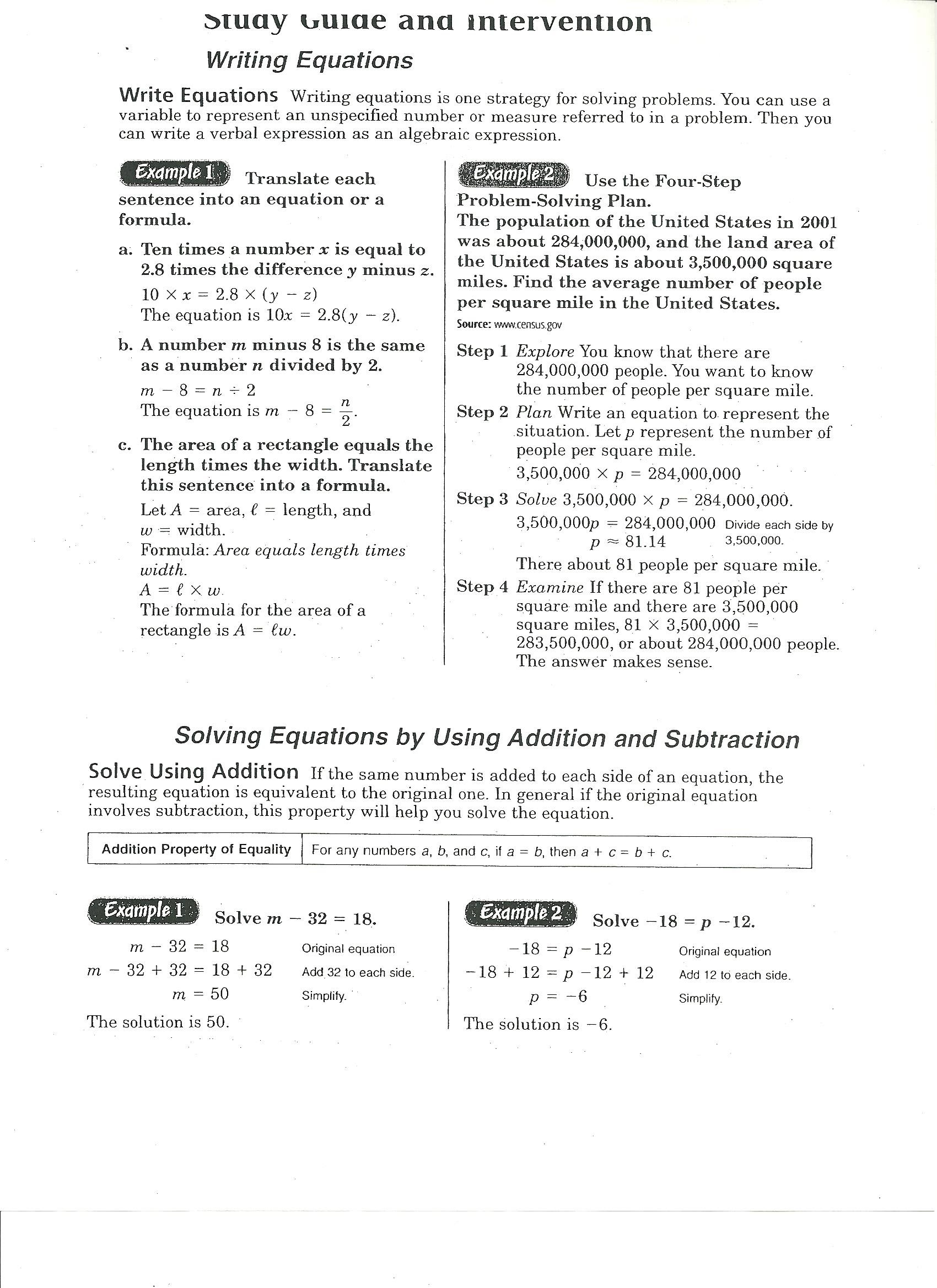 Solving Linear Equations Study Guide