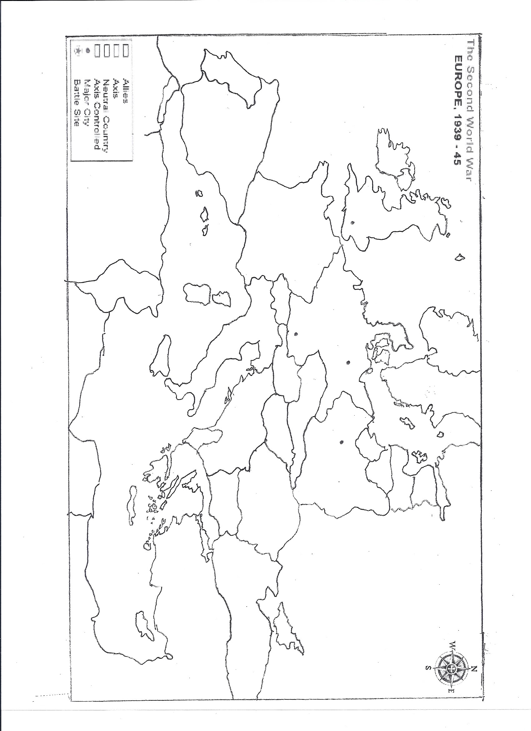 Blank Map Of Europe Worksheet