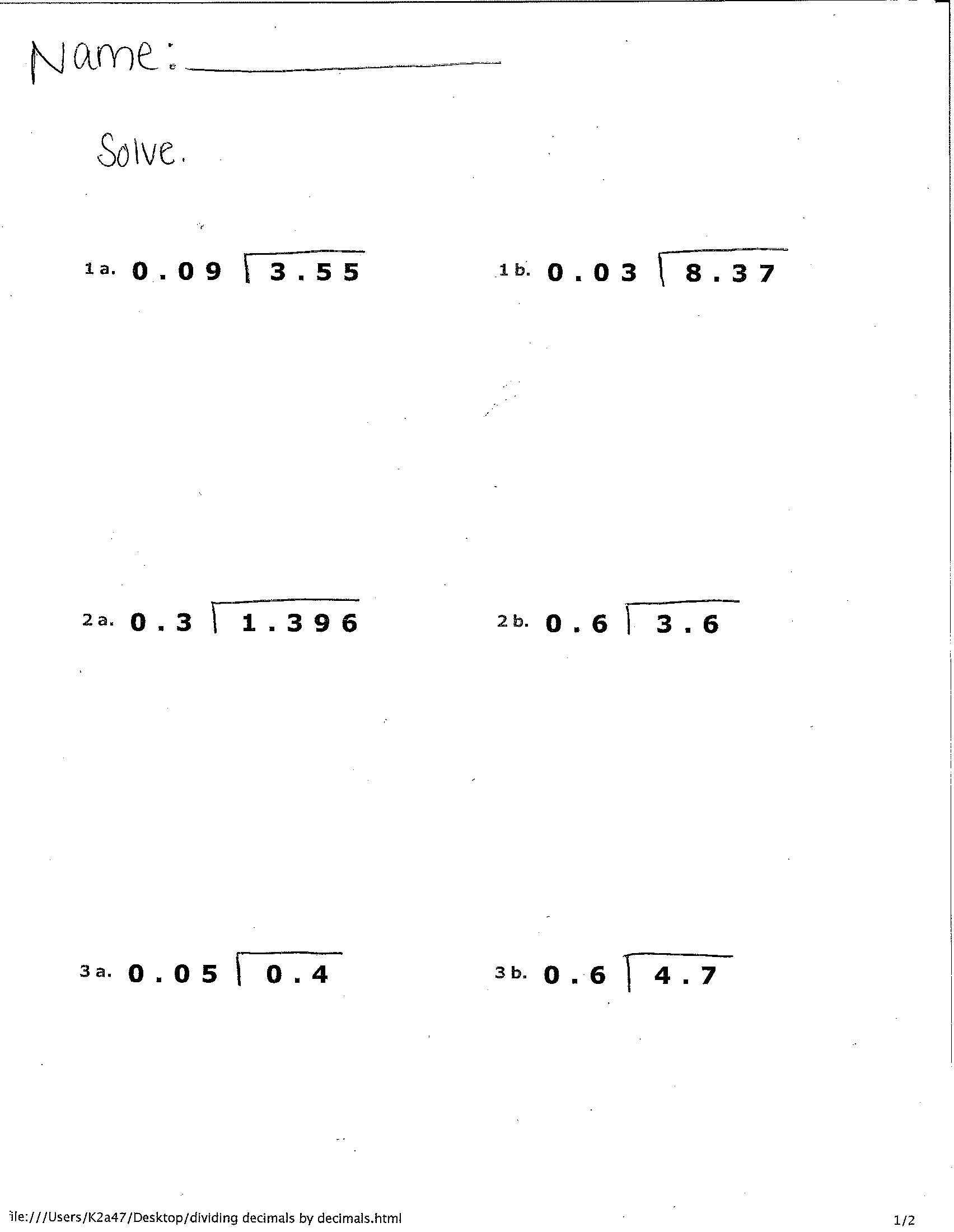 Dividing Decimals Worksheet 5th Grade