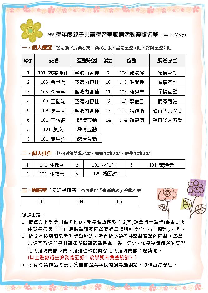 親子共讀學習單甄選 (NEW!) - 楊明國中閱讀專屬網站