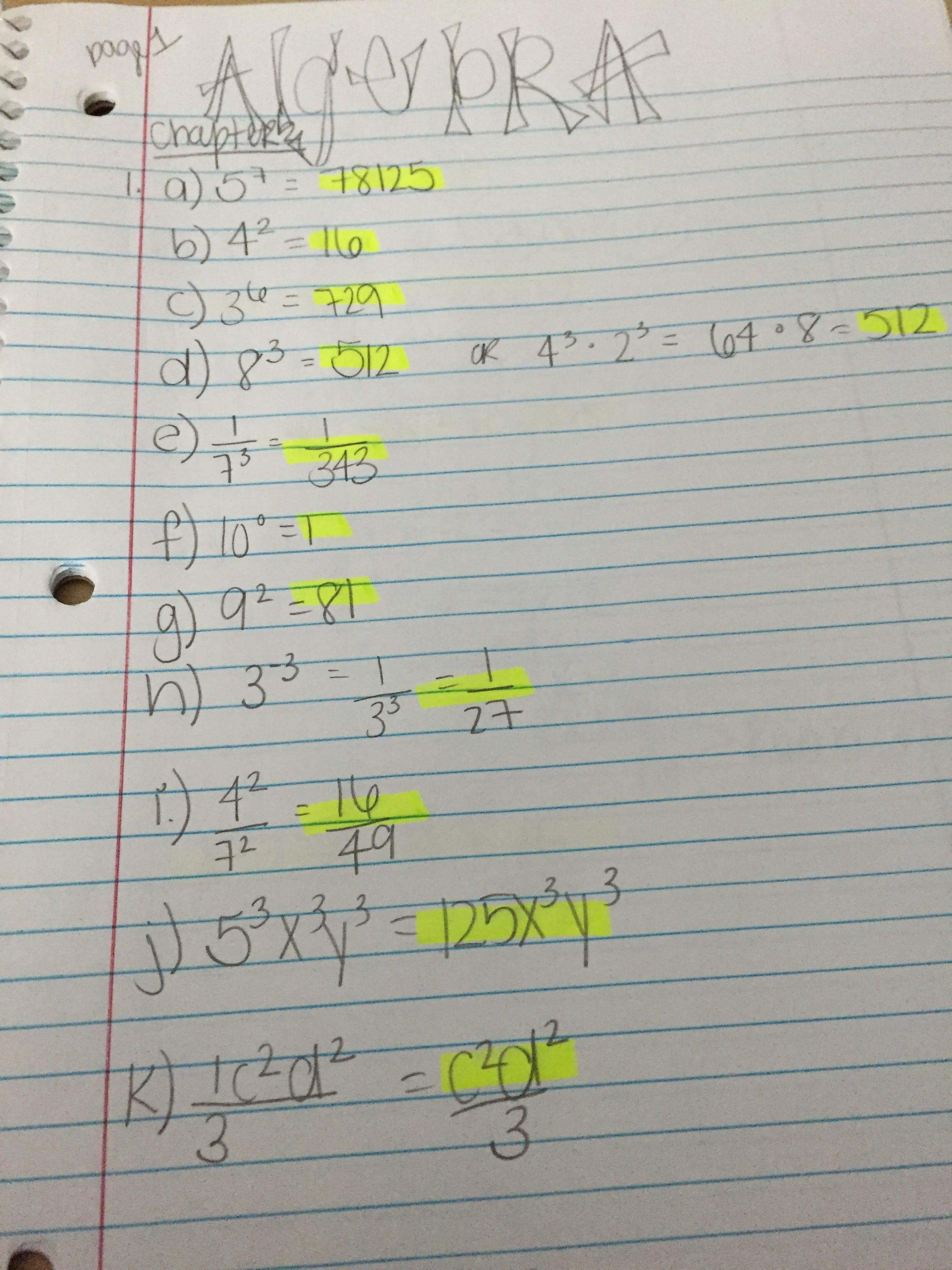Algebra 1 Final Exam With Answers