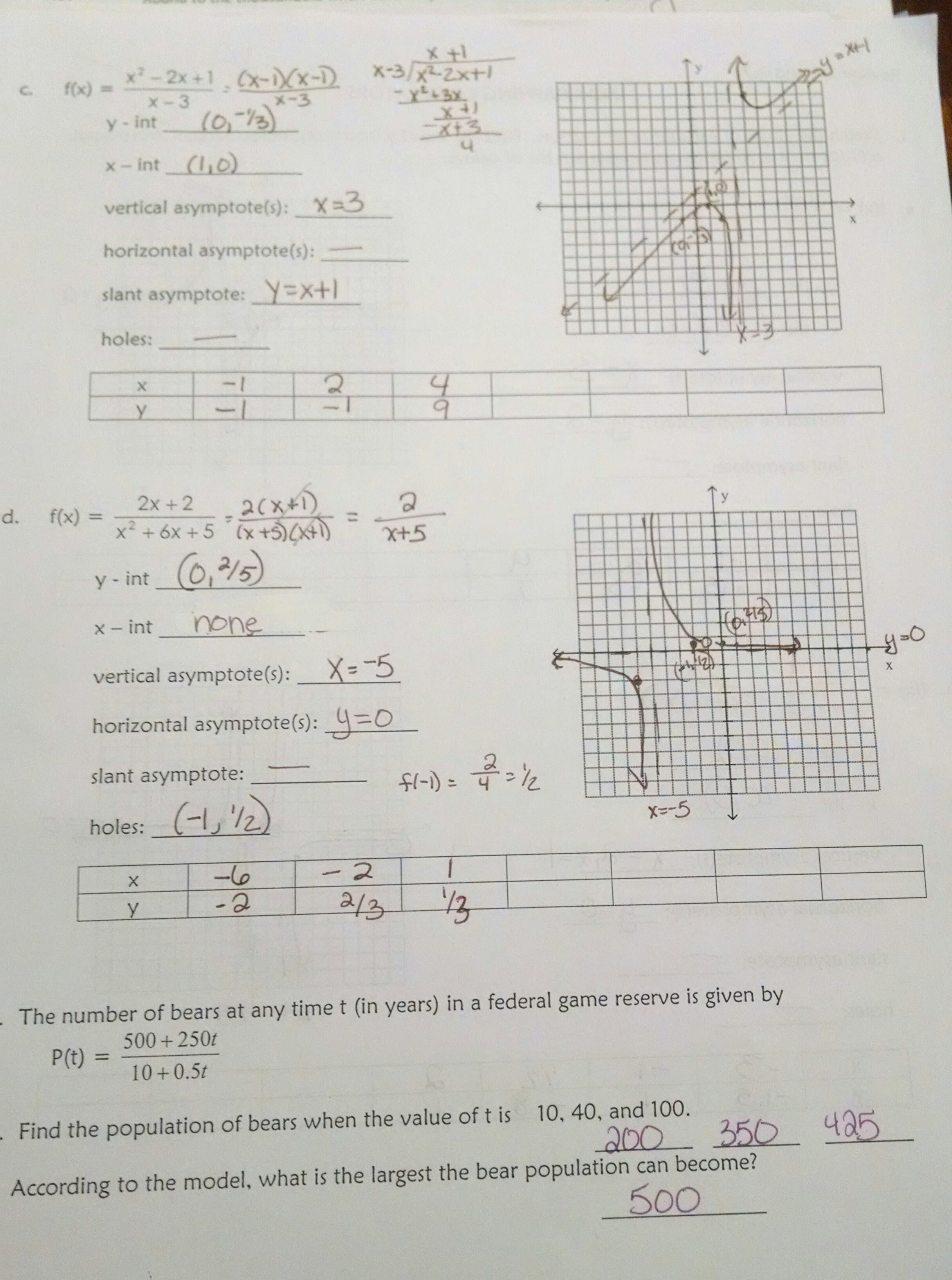 Homework Assignment Sheets Answers