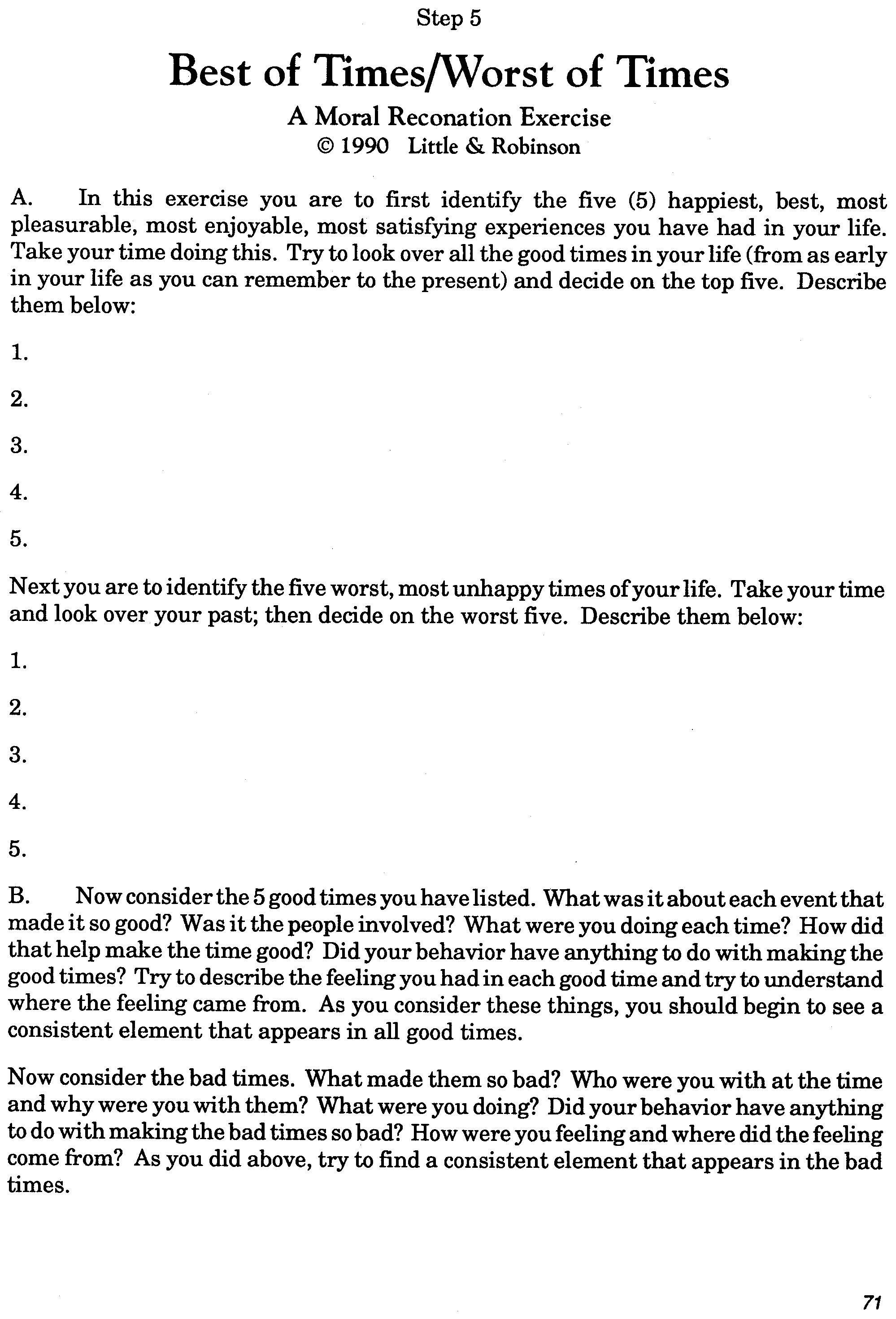 Worksheet 10th Step Inventory Worksheet Worksheet Fun
