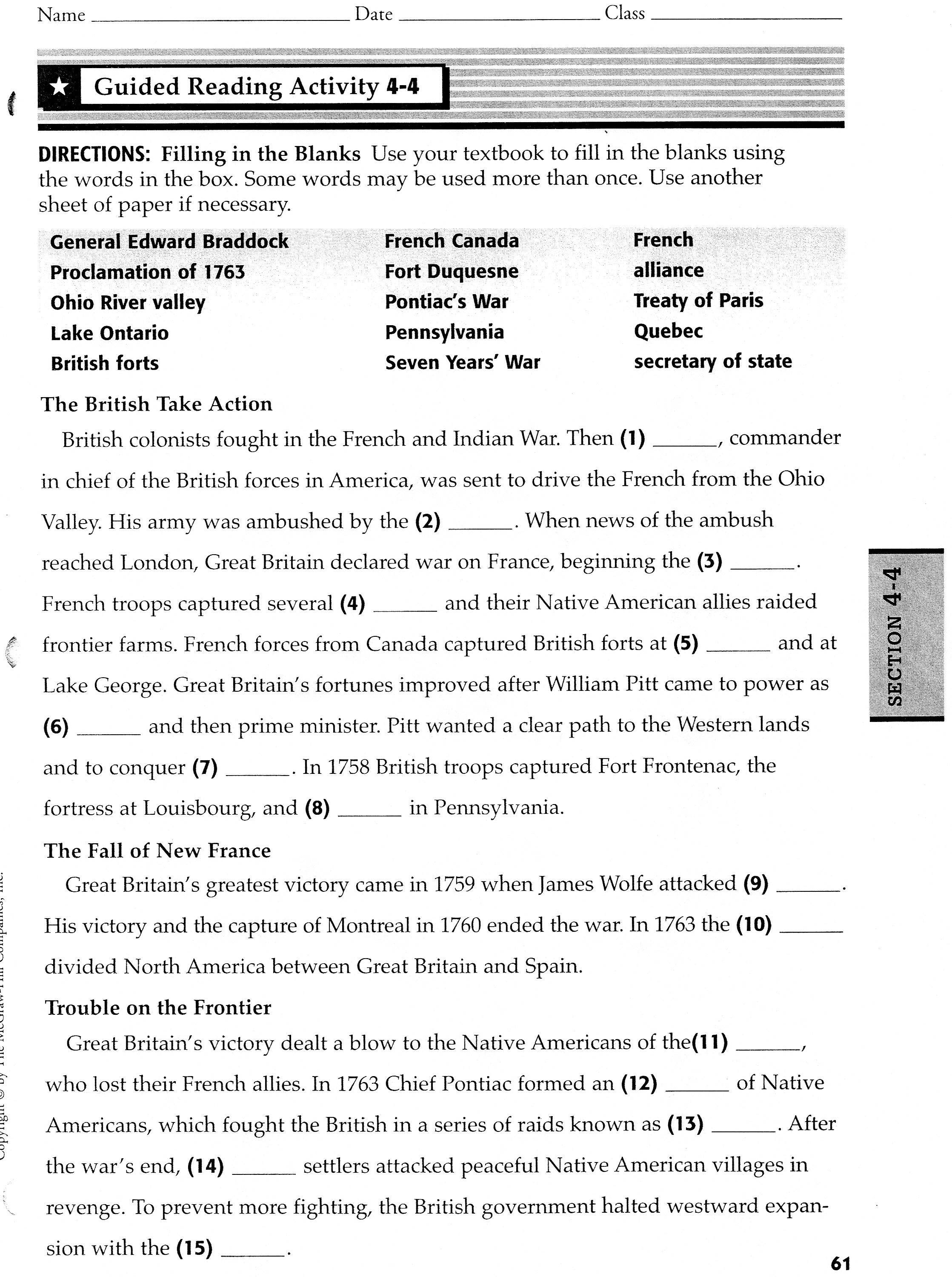 Worksheet French And Indian War Worksheets Worksheet Fun Worksheet Study Site