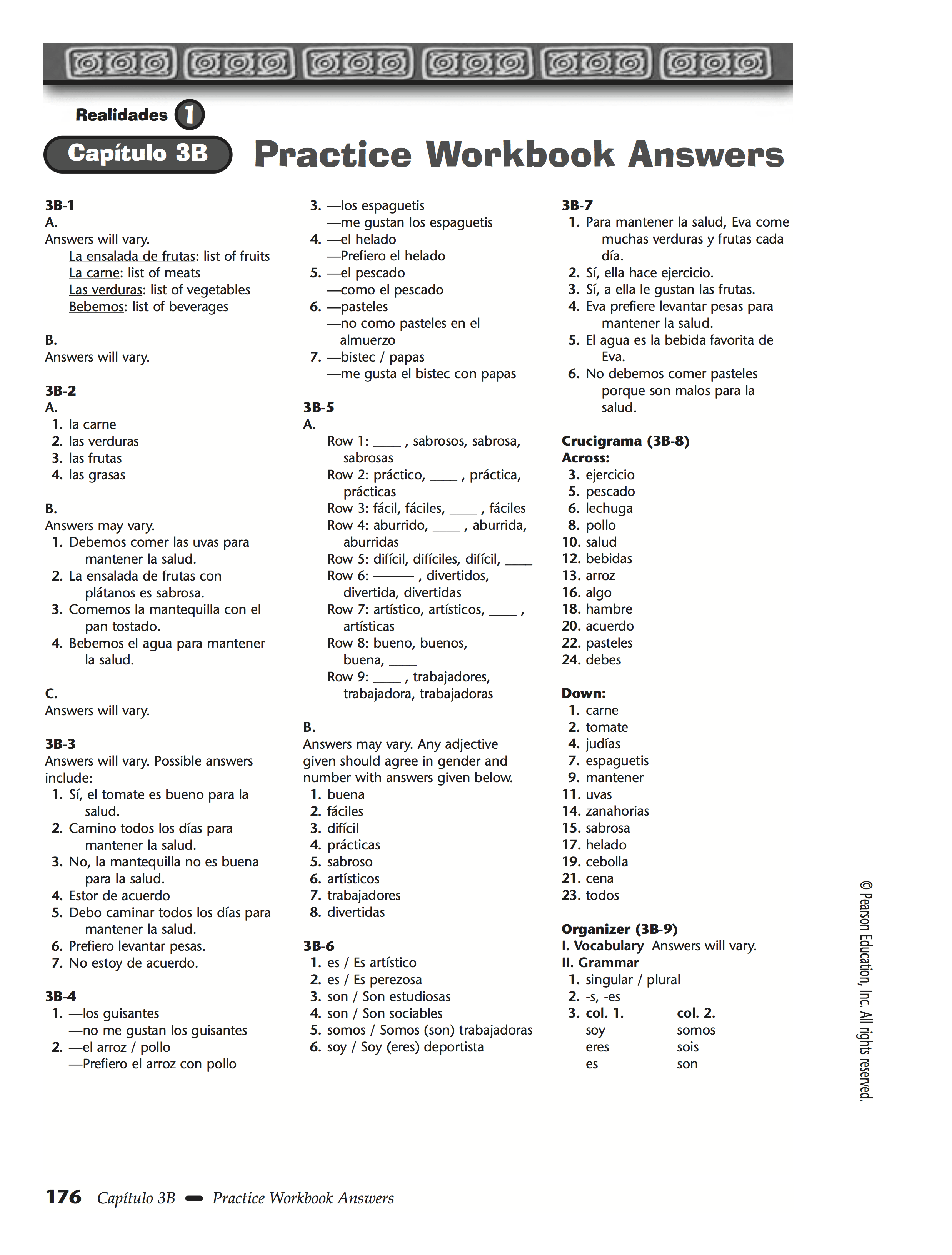 Worksheet Tener Answers Key