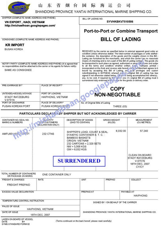 21 Free Bill of Lading Template Word Excel Formats – Sample of Bill of Lading Document