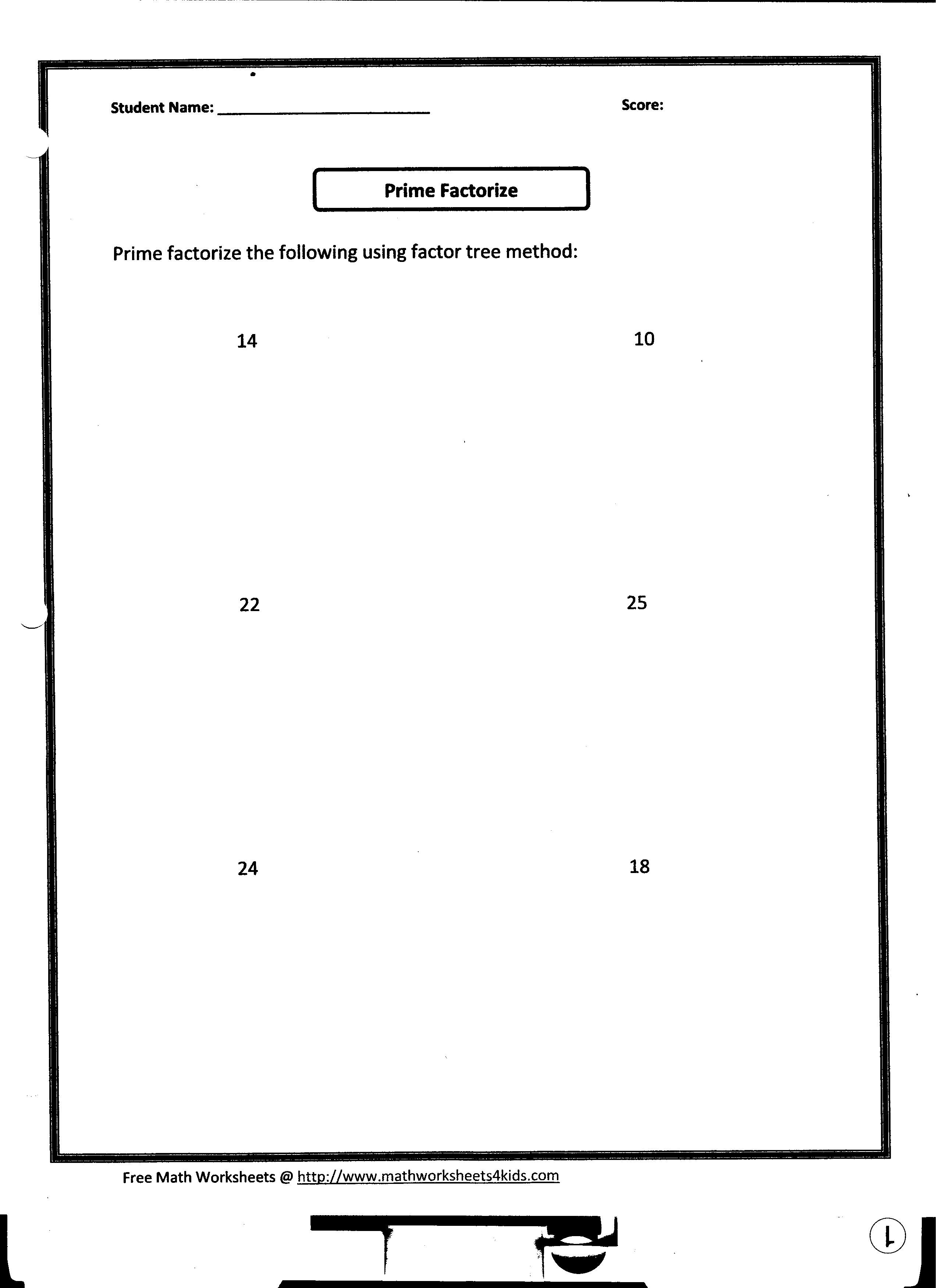 Worksheet Prime Factorization Worksheet Grass Fedjp