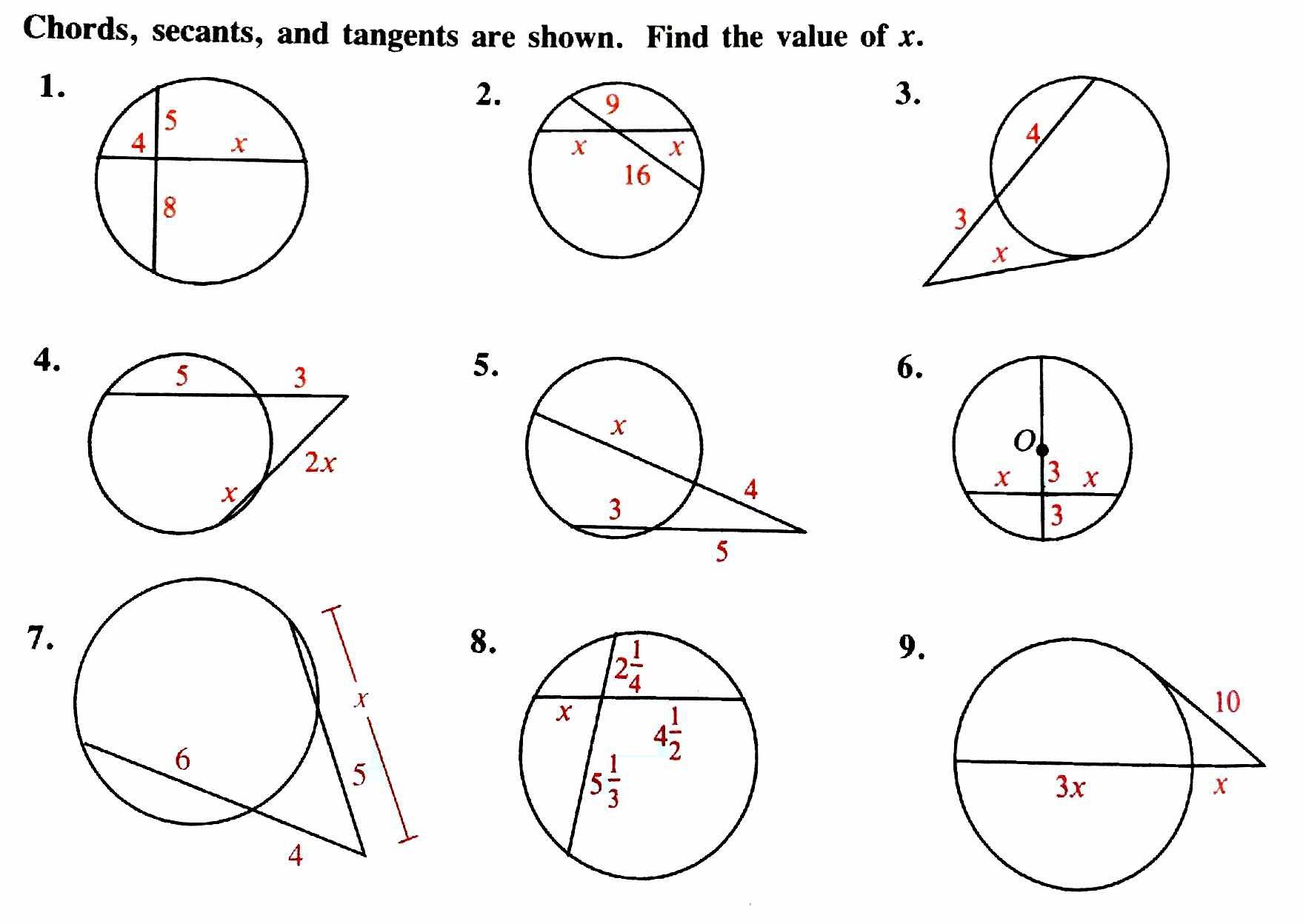 Circle Theorem Problems With Answers