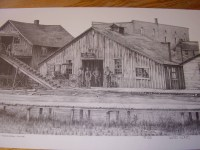 A photo of Blacksmith shop on High Street as depicted by Roanoke artist, Bob Rose