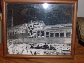 A photo of Interurban crash on May 19, 1924, at corner of Coe Street and what is now US 24 in Roanoke, IN
