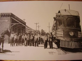 A photo of nterurban engine as depicted by Roanoke artist, Bob Rose