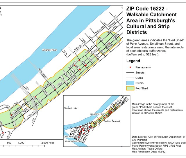 The Map Zip Code 15222 Walkable Catchment Area In Pittsburghs Cultural And Strip Districts Demonstrates I Understand How To Perform Data Queries To