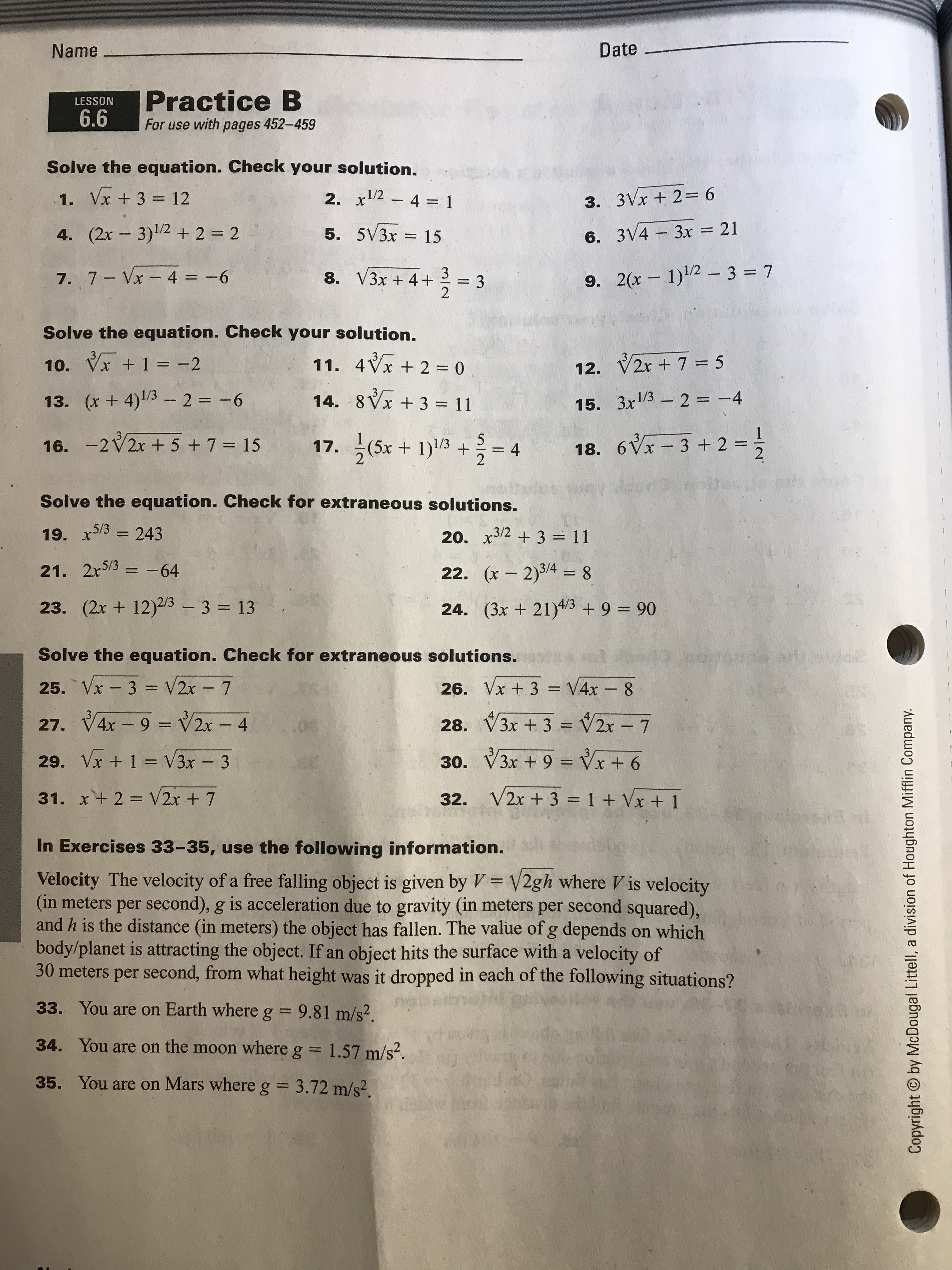 Honors Algebra 2
