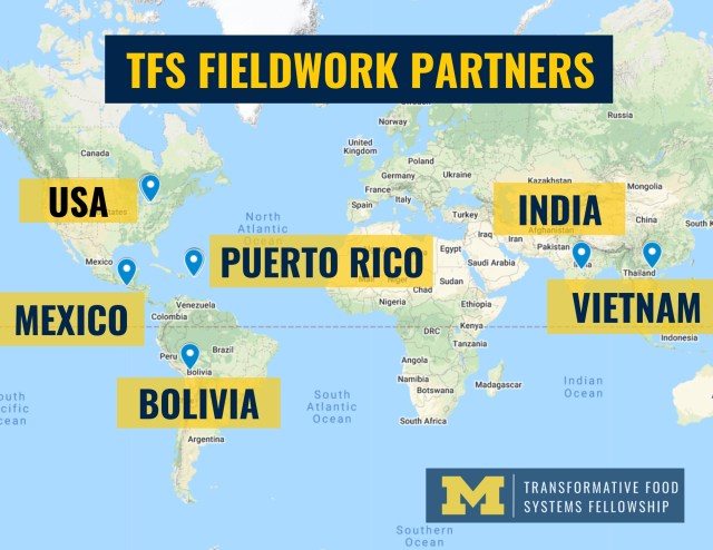 Map of the world indicating TFS Fieldwork Partners. Partner countries include, USA, Puerto Rico, India, Vitnam, Mexico, and Bolivia.
