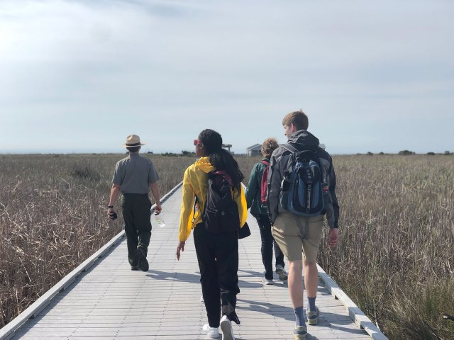A park ranger and three students walking on a boardwalk through a field