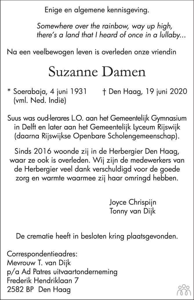 Overlijdensbericht van Suzanne Damen in Groot Rijswijk