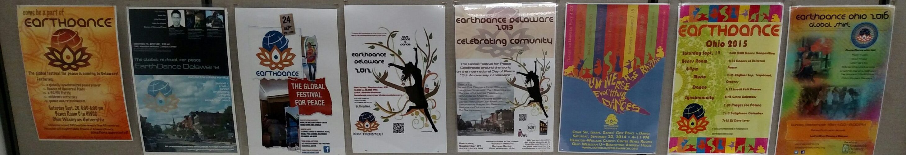 Earthdance Ohio posters from 2009-'16