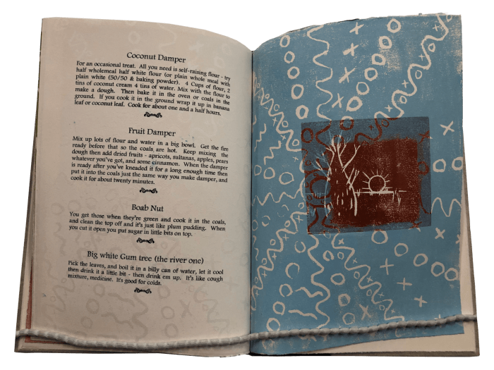 Image shows an open book with recipe for fruit damper on the left page and a two-color relief print in blue and red on the right page.