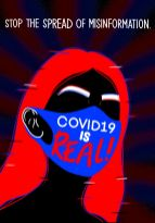 Image of woman wearing mask that says COVID-19 is real, with title: Stop the spread of misinformation
