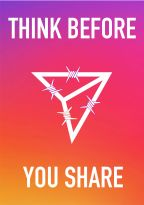 Image for Instagram that reads Think Before You Share