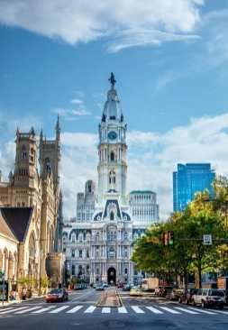 Philadelphia City Hall seen down Broad Street on a sunny day