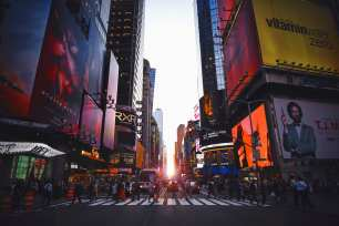 Times Square at sunset/sunrise