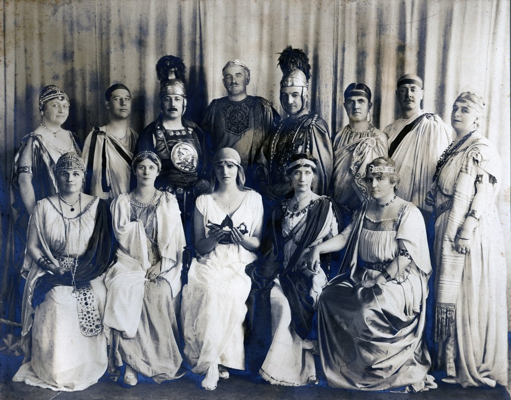 A Roman costume party, Bessie is second from the left in the front row wearing a tiara.