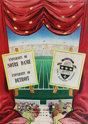 University of Detroit vs. Notre Dame football game on Oct. 5, 1951 at Briggs Stadium.