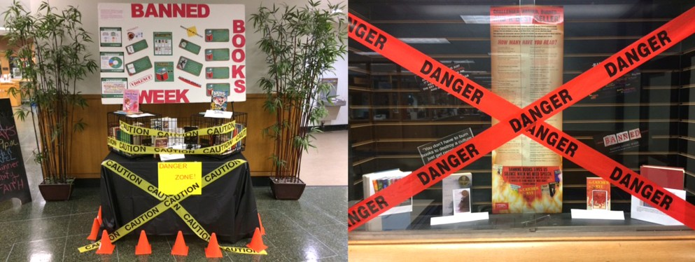 Display of Banned Books at McNichols Campus Library 2018