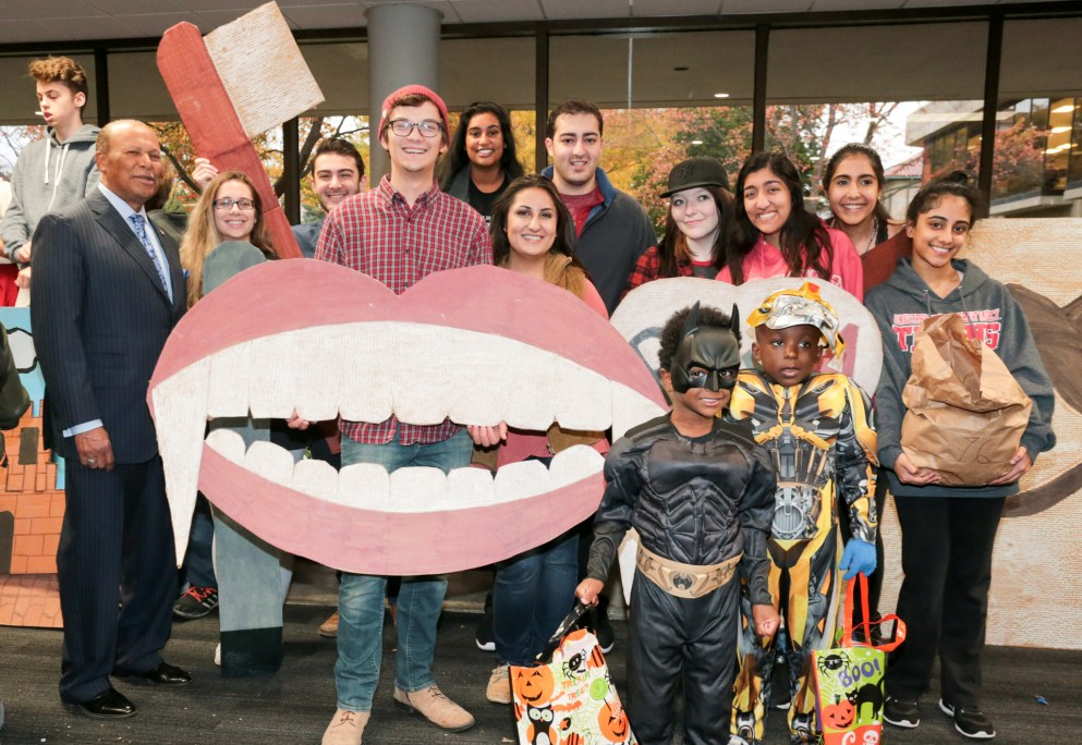 Students from Detroit Mercy Dental put up a booth at Safety Street 2017