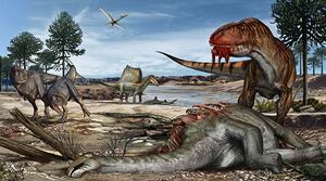 An artist's drawing of a prehistoric world of dinosaurs. Artwork by Davide Bonadonna.