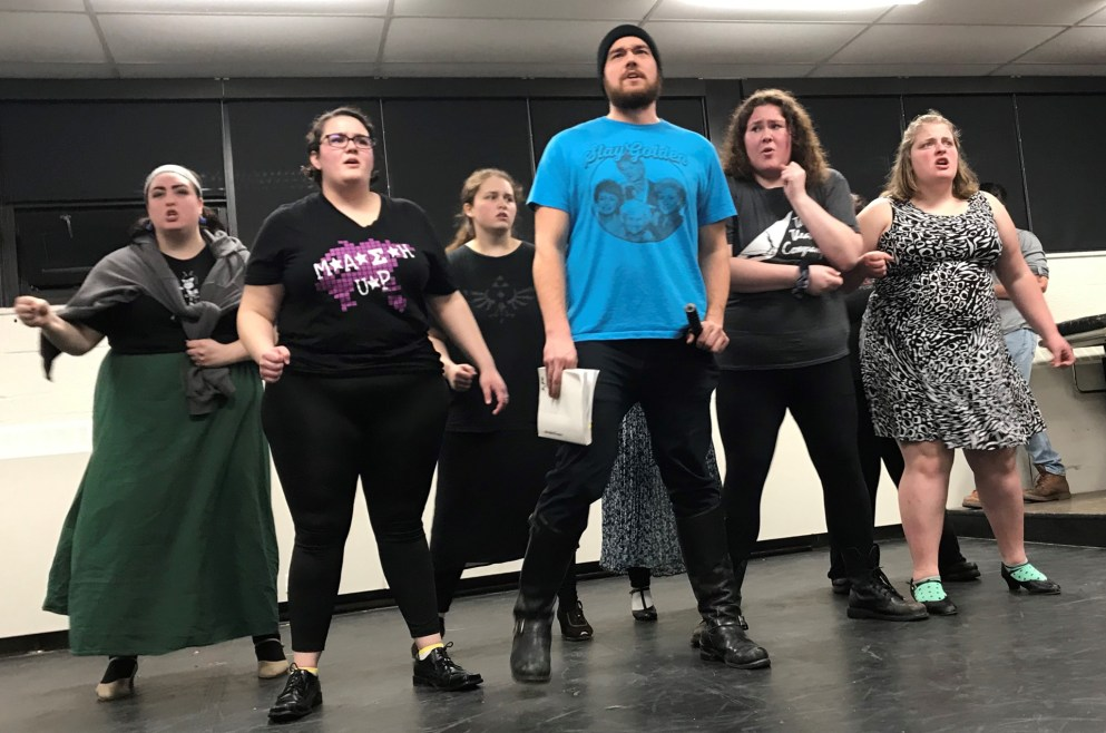 """Professional guest artist Kirsten Renas joins students Tavala Luciow, Bethany Lowhorn, Andrew Guay, Savanah Wright and Nina Carlson as they rehearse a musical number in Detroit Mercy Theatre Company's production of """"Young Frankenstein."""""""