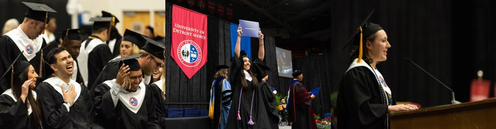 Graduates of the class of 2019 smiling at Detroit Mercy Commencement