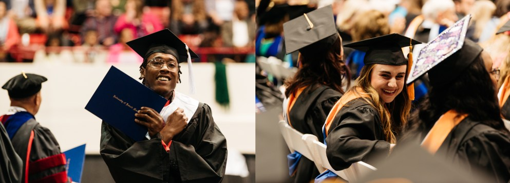 Students smiling at Commencement 2018