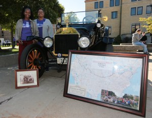 Antique cars ride onto the McNichols Campus for Homecoming 2018.
