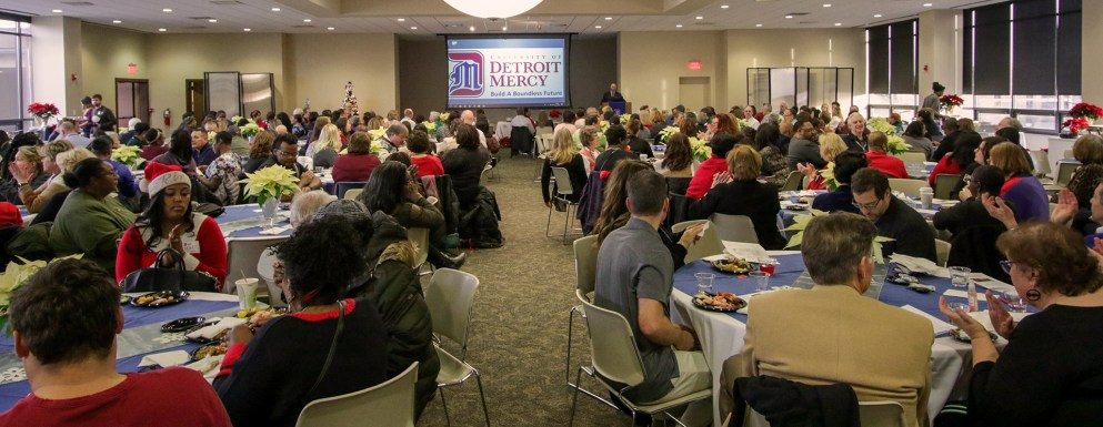 Wide crowd shot of the annual Detroit Mercy Christmas Party