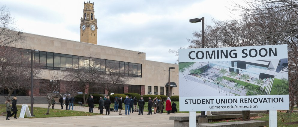 "Student Union Renovation site with a ""Coming Soon"" sign."