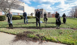 University Leadership breaks ground in front of the Student Union.