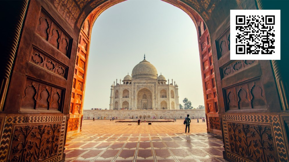 Graphic of India's Taj Mahal for the upcoming Detroit Mercy India Travel Experience in 2023.