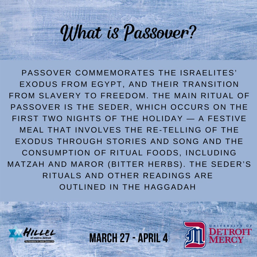 What is Passover? Passover commemorates the Israelites' exodus from Egypt, and their transition from slavery to freedom. The main ritual of Passover is the Seder, which occurs on the first two nights of the holiday – a festive meal that involves the re-telling of the exodus through stories and song and the consumption of ritual foods, including matzah and maror (bitter herbs). The Seder's rituals and other readings are outlined in the Haggadah (Jewish prayer book).