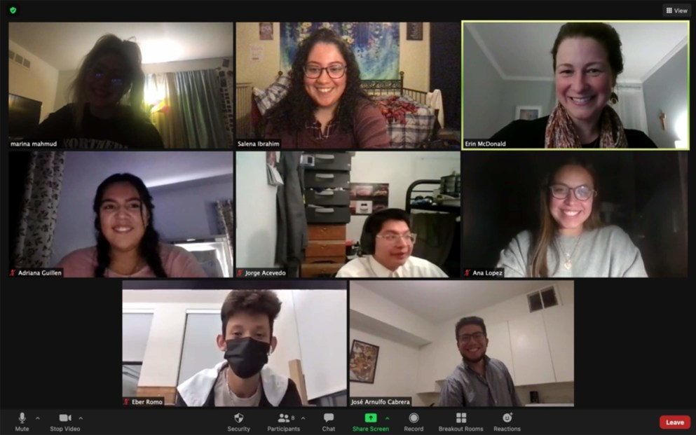 Screenshot of Titan Dreamers from a Zoom call. Titan Dreamers is a community of five Detroit Mercy students who have been impacted by DACA or are part of mixed-status families.