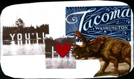 "Collage of ""You'll ♥ Tacoma"" and a triceratops"