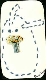"Stitched rabbit outline holding collaged floral bouquet. ""Gwen 2019"" signature."