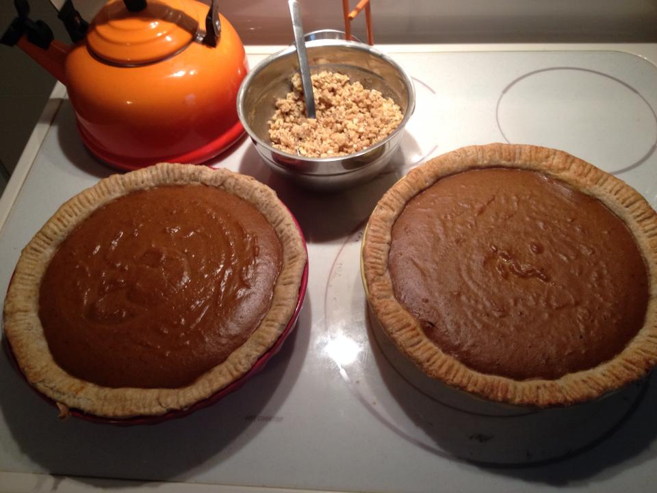Baked the pies 2/3 of the way, then took out of the oven to add a walnut streusel topping
